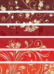 set of decorative floral panels