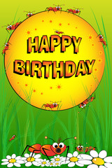 Ants, flowers and grass - Birthday card