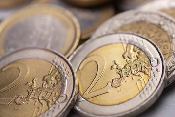 monnaie européenne - gros plan pièces de 2 euro