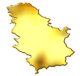 Serbia 3d Golden Map poster