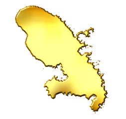 Martinique 3d Golden Map