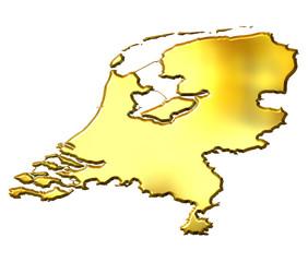 Netherlands 3d Golden Map