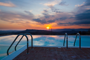 Swimming pool sunset -2-