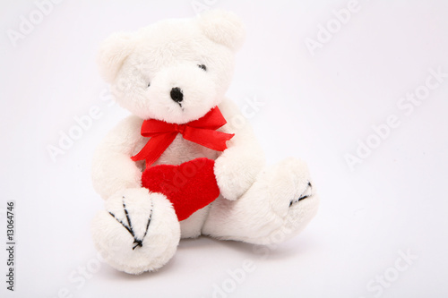 Teddy Bear With Love Heart over white