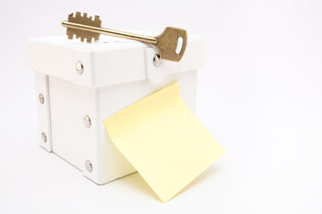 Key on white box with copy space