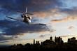 Flying over big city