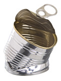 Crushed tin can
