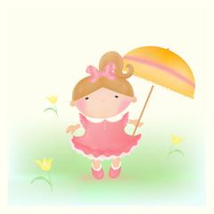 Girl with umbrella. Vector. Mesh.