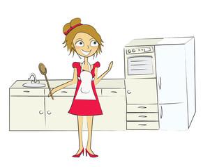 femme dans sa cuisine