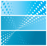 set of blue website headers (banners) with halftone poster