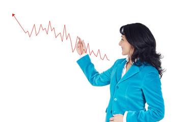 Elegant businesswoman pointing the graphic