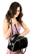 Brunette with purse