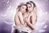 Nude portrait of two sensual young girls poster