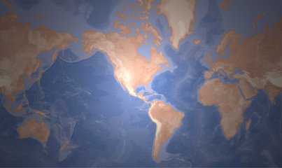 Mercator World Map - Americas Centered