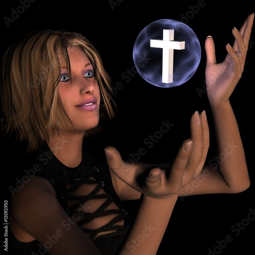 Christian Cross of Faith with Glowing Orb of Light