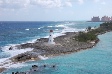 Lighthouse at the entrance to Nassau Port