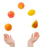 Juggling hands and fruits poster