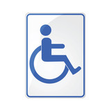 Disabled person sign - blue on white poster