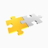 Fototapety goldenes und silbernes Puzzleteil