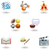Fototapety Glossy category education web icons