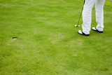 Golf player practicing on putting green