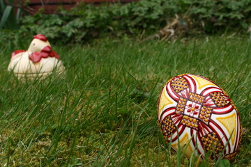 Easter painted egg and hen