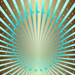 Silvery background with blue beams and stars (vector)