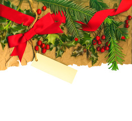 Christmas border  isolated white background,  clipping path