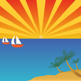 Sailing to tropical island poster