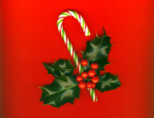 Candy cane, holly leaves and berries, candy cane