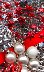 christmas decorations in red and silver colours