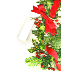 Christmas border white tag isolated on white background