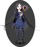 Goth stile girl holding withered rose. Background is separate. poster