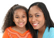 Adorable five year old African American Girl and Mom.