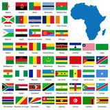 Podrobné africké vlajky a mapa