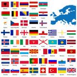 Oficiální seznam všech evropské země vlajky a mapa