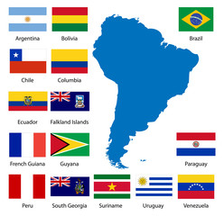 Detailed South American flags and map