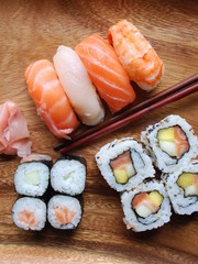 Sushi - Japonese Food (Uramaki, Hossomaki, Nigiri)