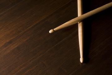 Wood Drumsticks on Bamboo floor