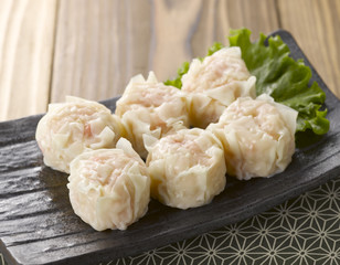 Shaomai is a traditional Chinese dumpling served in dim sum.