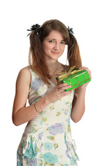 Girl with valentine day gift