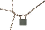 Padlock with fastened chains isolated on white background poster