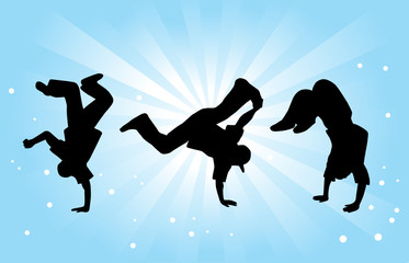 Breakdancers on Blue Background