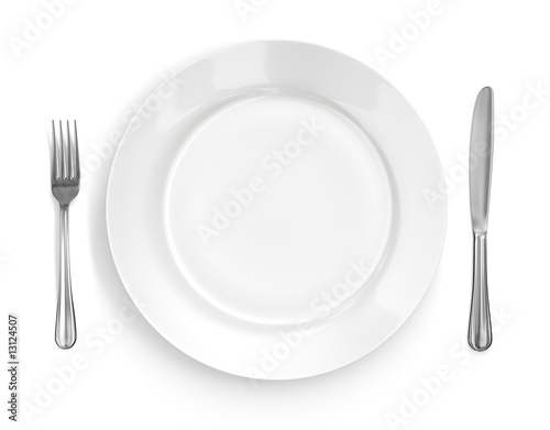 Leinwandbild Motiv Place Setting with Plate, Knife & Fork