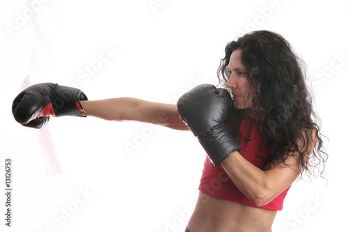 woman with boxing gloves isolated in white