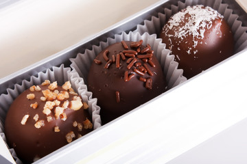 chocolate sweets in the box