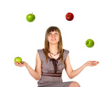 Woman juggling with apples poster