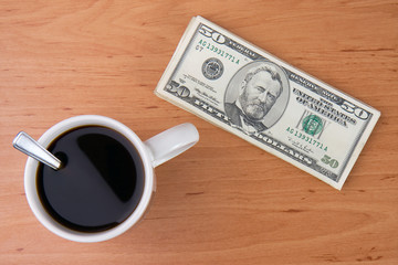 coffee cup and money