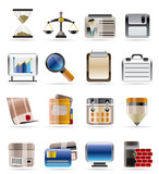 Realistic Business and office vector icon set poster