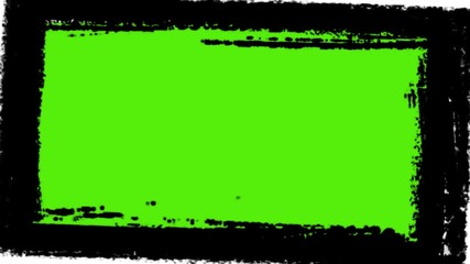 Grunge frame with green screen for your art - digital animation